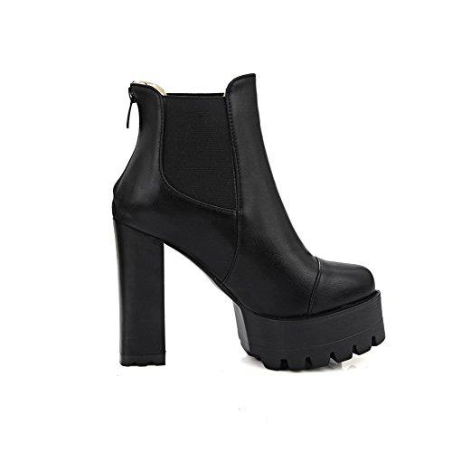 Allhqfashion Women's Zipper High Heels Pu Solid Low-Top Boots Black sLJpLU1Ulh