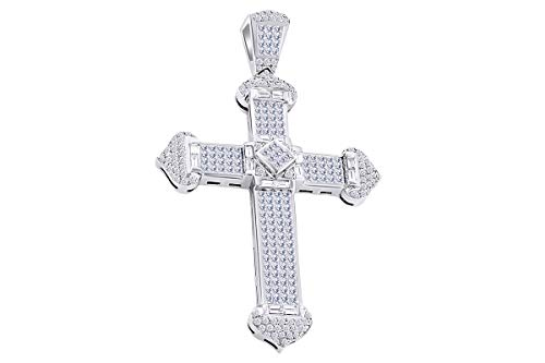 - 10 Cttw Princess & Round White Natural Diamond Hip Hop Jewelry Cross Pendant 14k Solid White Gold