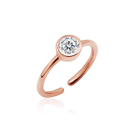 Big Apple Hoops - Sterling Silver Adjustable CZ Stud Toe Ring for Women | All Day Comfort Rose Gold -