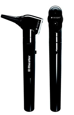 Riester 2131-202 E-Scope Fiber Optic Otoscope with 2.5V Xenon Light/Ophthalmoscope 2.5V Halogen Light Set, AA Handle, Black