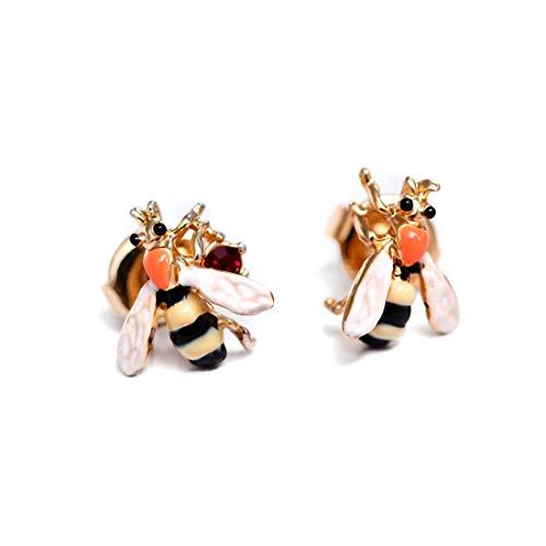 Ladies Exquisite Handmade Enamel Honeybee, Sterling Silver Studs for Women, Vintage Real Gold, Orange