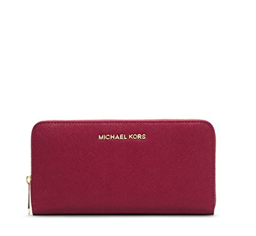 Michael Michael Kors Jet Set Travel Leather Continental Wallet (Cherry)