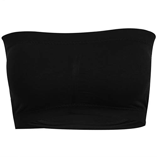 - Time and River Wireless Tube Top Bra, Plus Size Off-The-Shoulder Strapless Padded Bra for Traveling Party 1 Pack Black, XL