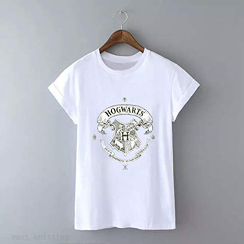 (Women Round Neck White Tops Summer Unisex Printed Casual T Shirt Short Sleeve Fitness Streetwear Blouse(S,324))