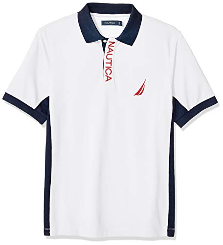 Nautica Men's Short Sleeve Color Block Performance Pique Polo Shirt, Bright White, XX-Large ()