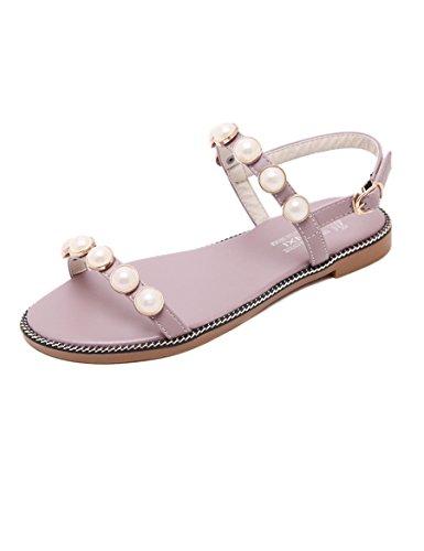 sandalias llanas del de sandalias o EU39 Mujeres las abiertas UK6 CN39 perla XIA Tama amp;Chanclas A Color simples toed 0 salvaje la Verano estudiante con qXz7E4x6