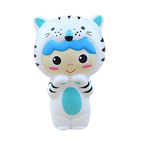 Stress Reliever Toys, KKYT Slow Rising Squishy Stress Relief Squeezable Squishies Fun Squeeze Adorable Squishies Cute Tiger Baby Stress Reliever Toy Friends Toys for Boys Girls (BU)