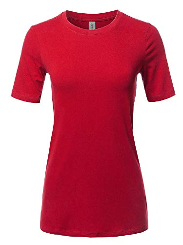 (Basic Solid Premium Cotton Short Sleeve Crew Neck T Shirt Tee Tops Ruby M )