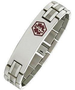 Titanium Adjustable Medical ID Bracelet by Elite Jewels