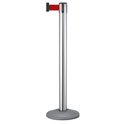 Beltrac Retractable Belt Stanchion for queue lines, Chrome and charcoal post with 7 foot Red -