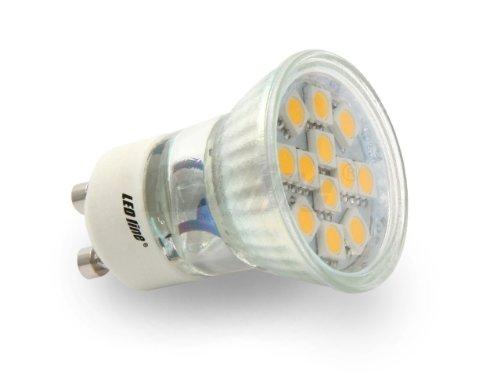 GU11 LED bombilla 2,4 W con ledes SMD EPISTAR 12 x 5050 luz blanca cálida, ultrabrillante 20 W bombilla halógena, LumenTEC: Amazon.es: Iluminación