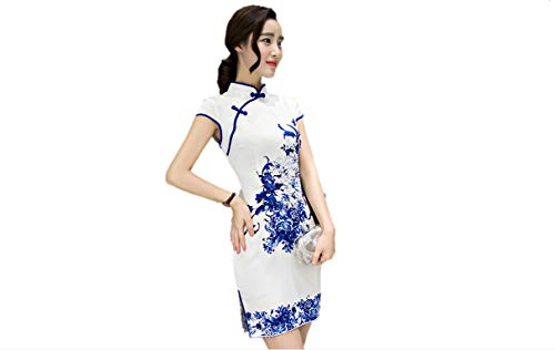 Kurop Women's Sexy White Floral Short Chinese Evening Dress Wedding Dress Cheongsam Qipao Flower Printing (S (US 0-2), White Floral Short) by Kurop