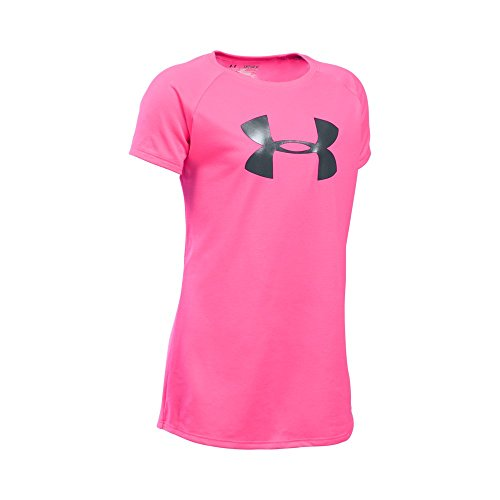 Under Armour Girls' Big Logo T-Shirt, Pink Punk /Stealth Gra