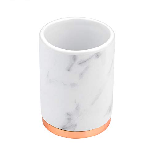 PREFFE Creative Home Design Marble Pattern Ceramic Wash Mouth Cup, Mug, Cup, Toothbrush Holder for Bathroom, Toothbrush Storage, Toothbrush Rack, Bathroom Organizer (Rose - Cup Ceramic Wash