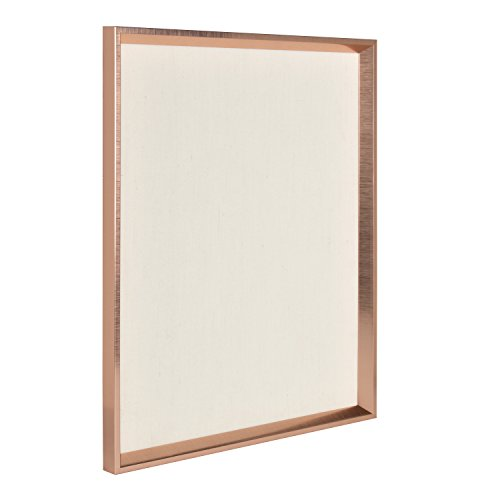 Fabric Pin Boards - Kate and Laurel Calter Framed Linen Fabric Pinboard, 21.5x27.5, Rose Gold