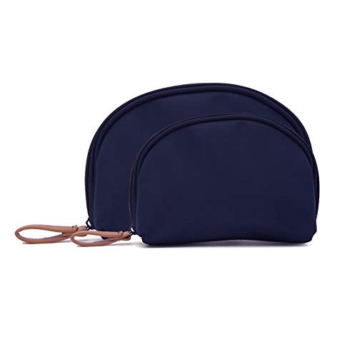 2 Pcs Small Travel Clutch Makeup Cosmetic Bag Set For Purse Handy Compact Cosmetic Storage Pouch Organizer For Women Teens Girls (navy blue)