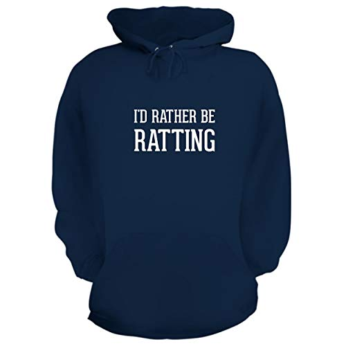 BH Cool Designs I'd Rather Be Ratting - Graphic Hoodie Sweatshirt, Navy, Large