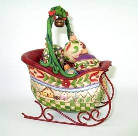 (Jim Shore Christmas Sleigh Figurine With Hanging Ornaments