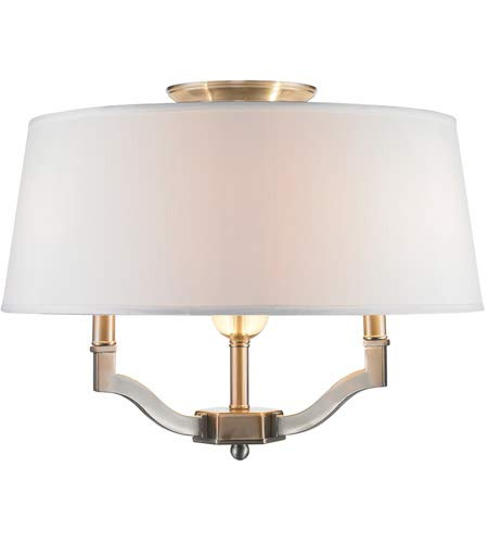 - Golden Lighting 3500-SF PW-CWH Semi-Flush/Ceiling with Classic White Shades, Pewter Finish