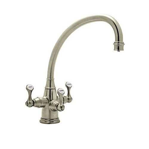 Rohl U.1420LS-STN-2 Satin Nickel Perrin And Rowe Perrin And Rowe Triple Handle Filtering Kitchen Faucet with Triflow Technology And Metal Lever (Perrin And Rowe Nickel Handles)
