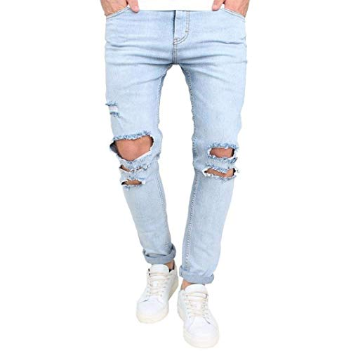 Jeans Holes Cher Denim Pantalones Stretch Pantalones Slim Fit Jeans RT Skinny Glich Train Train Pants Casual Blau