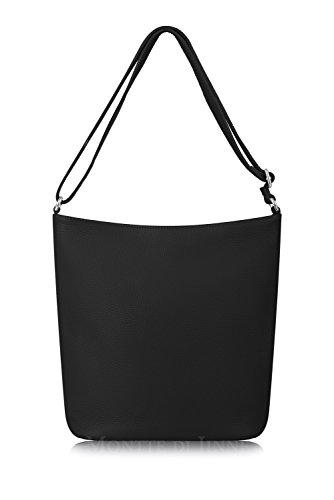 Shoulder Italian Bucket Di Soft Slouchy Body Jinne for Gift Black Leather 100 Luxury Cross Women Bag Montte q0Izw0