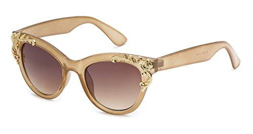 Eason Eyewear Women's Decorated Cat Eye Sunglasses 45 mm Clear Tan/Brown (Sunglasses Womens Tan)