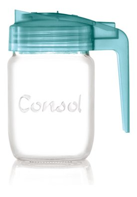 Classic Glass Preserve Mason Jar Fitted With An Easy Pouring Non Drip Angled Spout & BPA-Free Lid Converts it Into A Versatile Jug - By Consol (8oz, Blue)