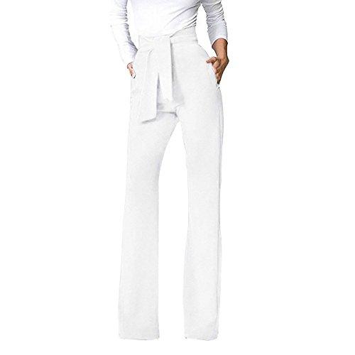 Baggy Festivo Semplice Tempo Lunga Coulisse Fashion Tuta Moda Solidi Haidean Elegante Glamorous Libero Larghi Colori Donna Bianca Pantaloni Con wqSOPtz