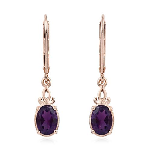 925 Sterling Silver 14K Rose Gold Plated Oval Amethyst Dangle Lever Back Earrings Cttw 1