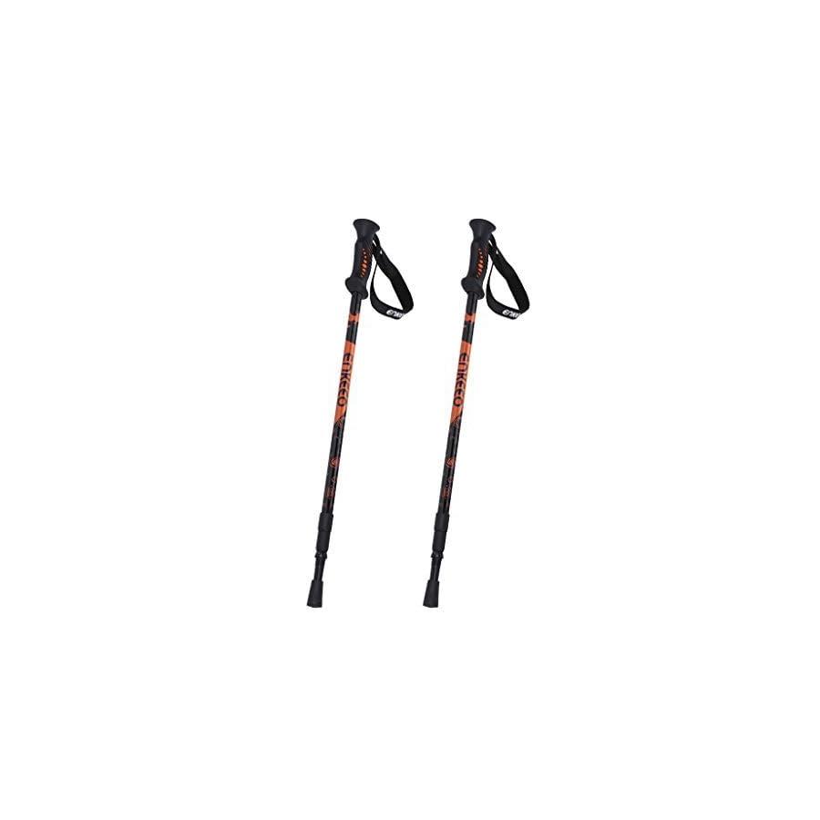 ENKEEO 2 Pack Trekking Poles Anti Shock & Quick Lock Hiking Poles Ultralight Collapsible Trail Walking Stick with Durable Aluminum (Black and Orange, 1 Pair)