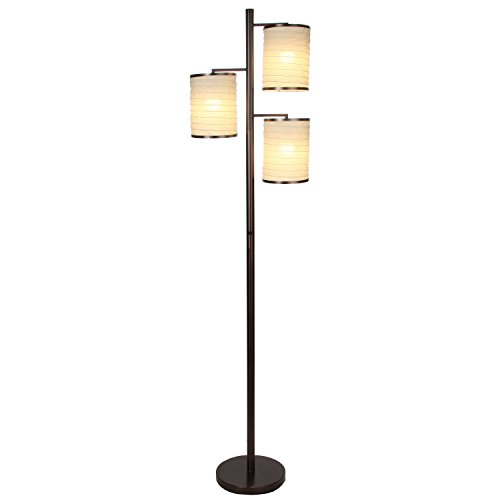 Brightech Liam - Asian Lantern Shade Tree LED Floor Lamp - Alexa Compatible - Tall Free Standing Pole with 3 LED Light Bulbs - Contemporary Bright Reading Lamp for Living Room, Office - Bronze by Brightech