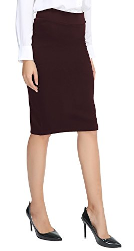 Urban CoCo Women's Elastic Waist Stretch Bodycon Midi Pencil Skirt (XL, Burgundy) ()