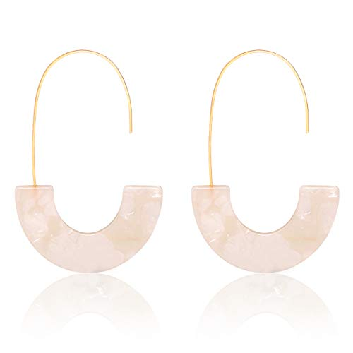 MOLOCH Acrylic Earrings Statement Tortoise Hoop Earrings Resin Wire Drop Dangle Earrings Fashion Jewelry for Women (White)