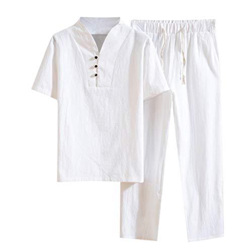 Fitfulvan Men's Baggy Casual Cotton Linen Two-Piece Set Pocket Solid Short Sleeve Retro T-Shirts Pants Suits Tops White