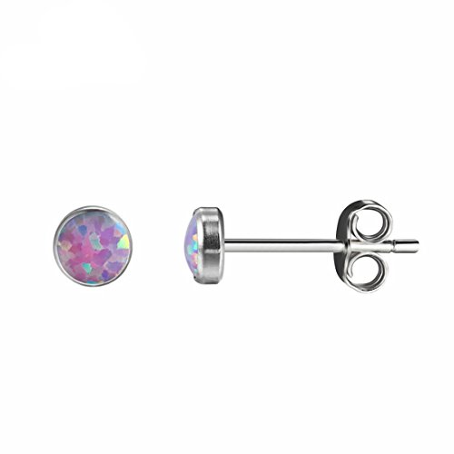 Opal 4 mm, Titanium Hypoallergenic Bezel Stud Earrings , For Sensitive Ears (Pale Violet) - Girl Bezel