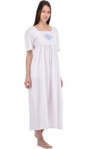 Camicia da notte in cotone bianco Vintage Cotton Lane Reproduction Plus Size N241-WT. Taglie italiane dalla 40 alla 70