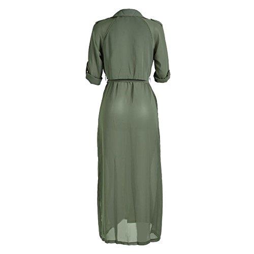 la moda con estilo y elegante camisa de manga larga de gasa chaqueta de cuello chaqueta de punto, negro, rosa, verde Green