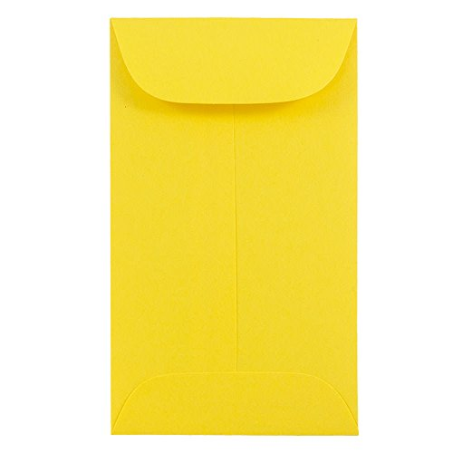 JAM PAPER #3 Coin Business Colored Envelopes - 2 1/2 x 4 1/4 - Yellow Recycled - -
