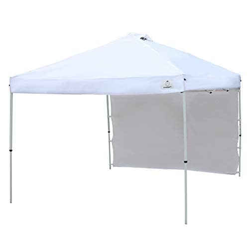IsagapoY Pop up 10x10 Canopy Tent Compact Canopy, Portable Shade Instant Folding Better Air Circulation Canopy with Wheeled Bag,x1 Sidewall,x4 Canopy Sandbags,x4 Tent Stakes (White)