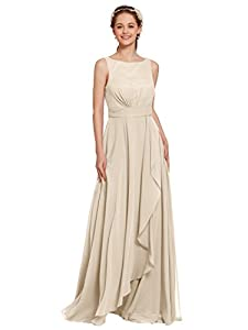 AW Bridal Long Bridesmaid Dresses Chiffon Formal Dresses A-Line Evening Dresses for Women