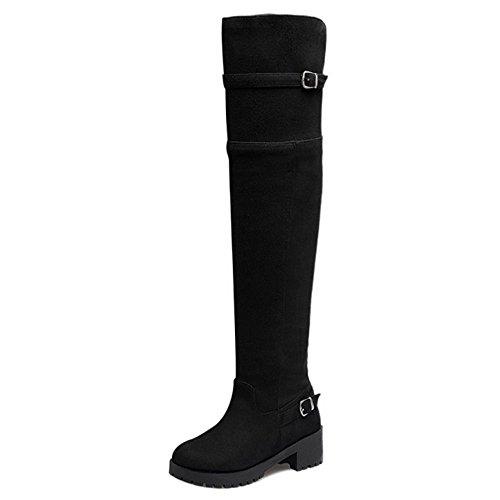 Knee Eclair Bottes Thigh Over Talon Fermeture Bas Femmes Black Suede Taoffen Tall High Bloc 1x6PR0