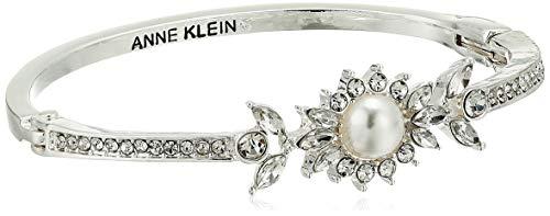 Anne Klein Women's Pearl Hinge Bangle, White