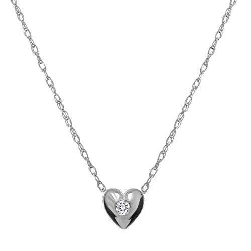 14K White Gold Heart Solitaire Diamond Pendant Necklace with Bezel Set 0.03ct Round Cut Diamond (F Color, SI1 Clarity) and 16