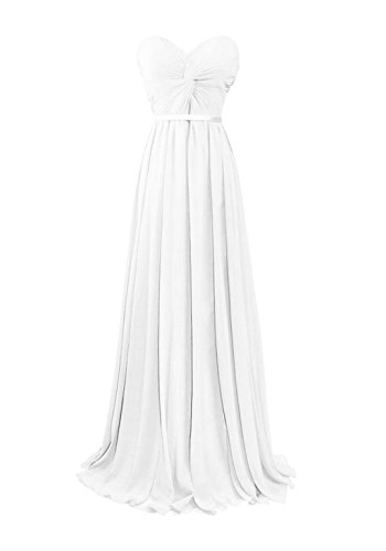 Fanciest Chiffon Gowns Women's Sweetheart Evening Prom Bridesmaid Dresses White Long qErqF8