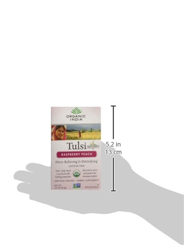 Organic India Tulsi Tea Raspberry Peach, 18 Count (Pack of 2)