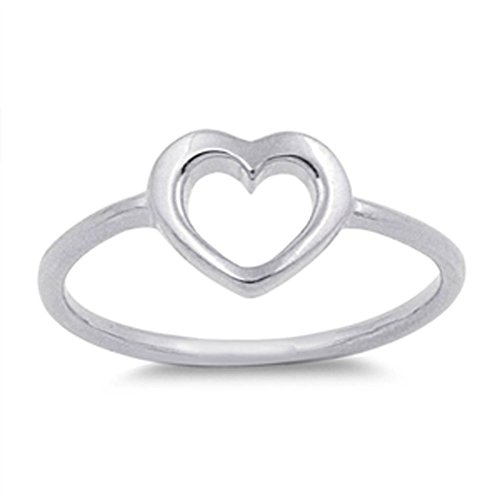 Women's Heart Simple Cute Promise Ring New .925 Sterling Silver Band Size 7 by Sac Silver