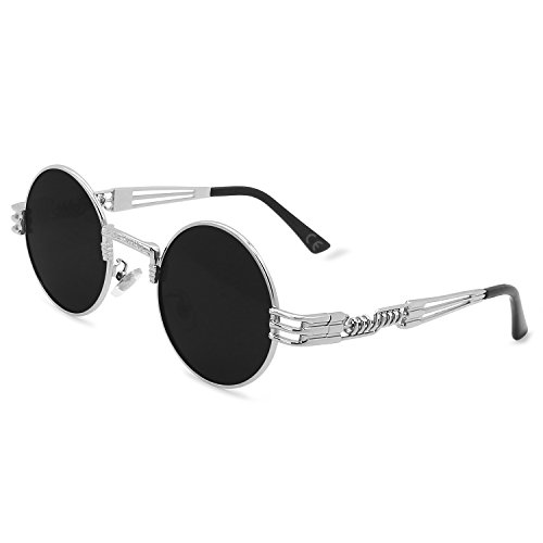Redondo Gafas Lente AMZTM de Vendimia Gris Steampunk Sol Plateado de Metal Gafas de Marco Marco q4gBwU