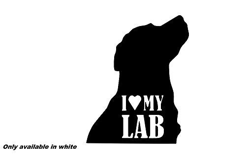Sticker Labrador Chocolate (I love my lab car truck window sticker vinyl decal chocolate black Labrador)