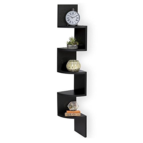 able 5 Tiers Corner Wall Shelf Zig Zag Hanging Wall Floating Shelves Corner Storage Photo Albums Bookshelf Decorative for Living Room Dining Room Bedroom Office Hotel (Black) (Home Office 5 Tier Bookshelf)